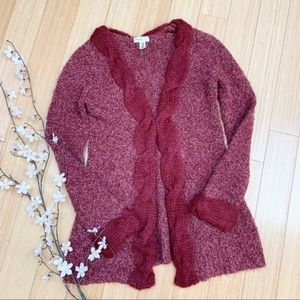Anthro sleeping on snow Cardigan Sweater Size M